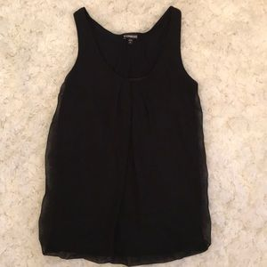 Black tank with sheer overlap